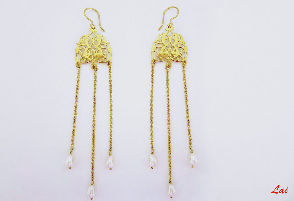 Gold plated long pearl shoulder duster earrings [PB-9849-ER (G)] - Lai - 1