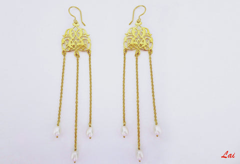Long, pearl shoulder duster, gold-plated earrings  Earrings Sterling silver handcrafted jewellery. 925 pure silver jewellery. Earrings, nose pins, rings, necklaces, cufflinks, pendants, jhumkas, gold plated, bidri, gemstone jewellery. Handmade in India, fair trade, artisan jewellery.
