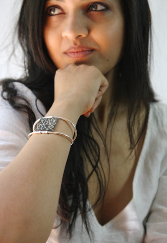Can't-take-your-eyes-off-it rectangular Bidri cuff (PB-1301-B)  Bangles Sterling silver handcrafted jewellery. 925 pure silver jewellery. Earrings, nose pins, rings, necklaces, cufflinks, pendants, jhumkas, gold plated, bidri, gemstone jewellery. Handmade in India, fair trade, artisan jewellery.