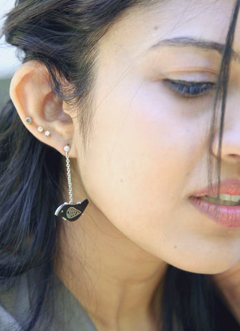 Quirky, asymmetrical Bidri bird earrings (PB-1388-ER) - Lai - 5