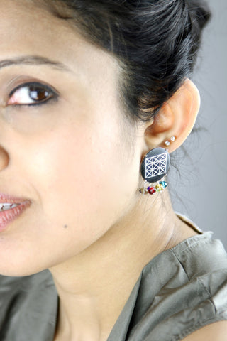 Chic, colourful round Bidri earrings (PB-1380-ER)  Earrings Sterling silver handcrafted jewellery. 925 pure silver jewellery. Earrings, nose pins, rings, necklaces, cufflinks, pendants, jhumkas, gold plated, bidri, gemstone jewellery. Handmade in India, fair trade, artisan jewellery.