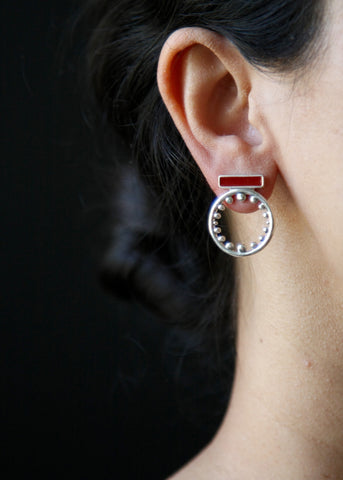 Chic, elegant, contemporary round ear tops with maroon enamel work (PB-10252-ER)  Earrings Sterling silver handcrafted jewellery. 925 pure silver jewellery. Earrings, nose pins, rings, necklaces, cufflinks, pendants, jhumkas, gold plated, bidri, gemstone jewellery. Handmade in India, fair trade, artisan jewellery.