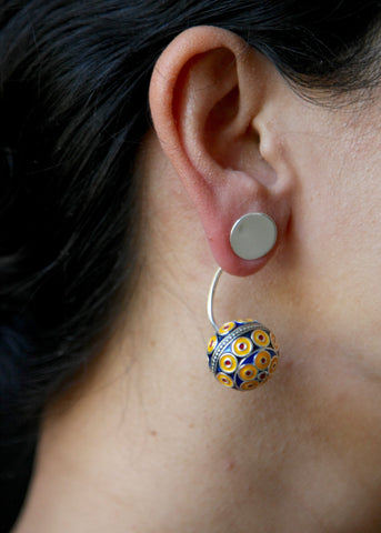 Stunning, unique, front back earrings with fine enamel work (PB-10388-ER)  Earrings Sterling silver handcrafted jewellery. 925 pure silver jewellery. Earrings, nose pins, rings, necklaces, cufflinks, pendants, jhumkas, gold plated, bidri, gemstone jewellery. Handmade in India, fair trade, artisan jewellery.