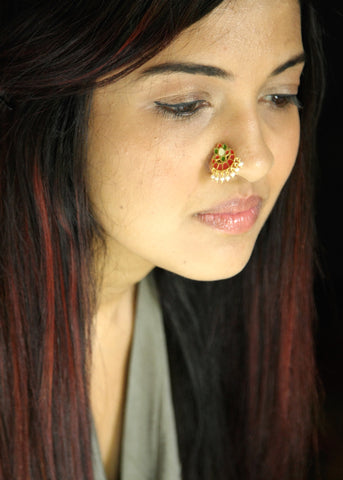 NEW! Dramatic, gold plated, enamel nose pin with dangling pearls (PB-048-NP)  Nose pin Sterling silver handcrafted jewellery. 925 pure silver jewellery. Earrings, nose pins, rings, necklaces, cufflinks, pendants, jhumkas, gold plated, bidri, gemstone jewellery. Handmade in India, fair trade, artisan jewellery.