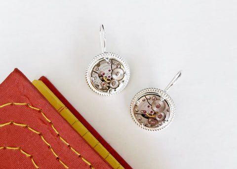 Chic and unique vintage watch part earrings in sterling silver