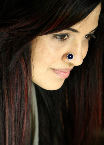 NEW! Chic navy blue round enamel nose pin (PB-031-NP)  Nose pin Sterling silver handcrafted jewellery. 925 pure silver jewellery. Earrings, nose pins, rings, necklaces, cufflinks, pendants, jhumkas, gold plated, bidri, gemstone jewellery. Handmade in India, fair trade, artisan jewellery.
