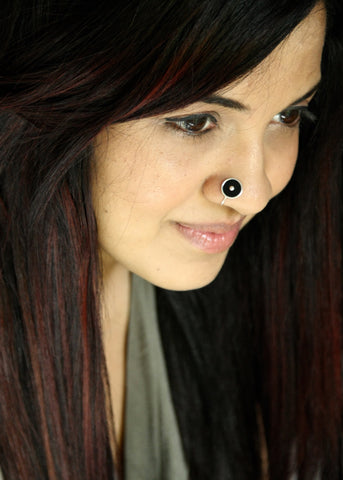 NEW! Chic black round enamel nose pin (PB-034-NP)  Nose pin Sterling silver handcrafted jewellery. 925 pure silver jewellery. Earrings, nose pins, rings, necklaces, cufflinks, pendants, jhumkas, gold plated, bidri, gemstone jewellery. Handmade in India, fair trade, artisan jewellery.