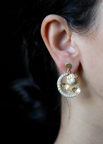 Ravishing, gold plated, seed pearl crescent and flower Victorian earrings [PB-10456-ER (G)]