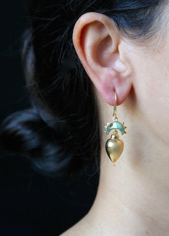 Minimalist, gold plated, Victorian, drop earrings with abalone [PB-10453-ER (G)]  Earrings Sterling silver handcrafted jewellery. 925 pure silver jewellery. Earrings, nose pins, rings, necklaces, cufflinks, pendants, jhumkas, gold plated, bidri, gemstone jewellery. Handmade in India, fair trade, artisan jewellery.