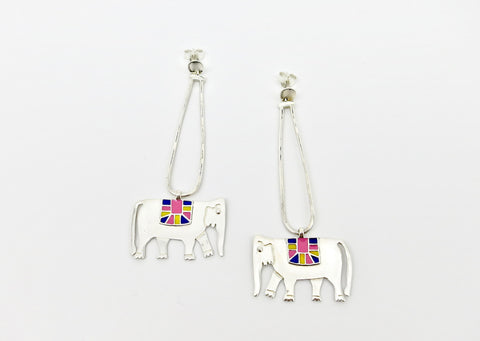 Whimsical, long dangling 'Gaja' (elephant) earrings [PBZ-1442-ER]  Earrings Sterling silver handcrafted jewellery. 925 pure silver jewellery. Earrings, nose pins, rings, necklaces, cufflinks, pendants, jhumkas, gold plated, bidri, gemstone jewellery. Handmade in India, fair trade, artisan jewellery.