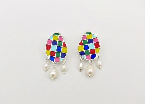 Stunning, colour grid, pearl drop 'varnin' earrings  [PBZ-1429-ER]