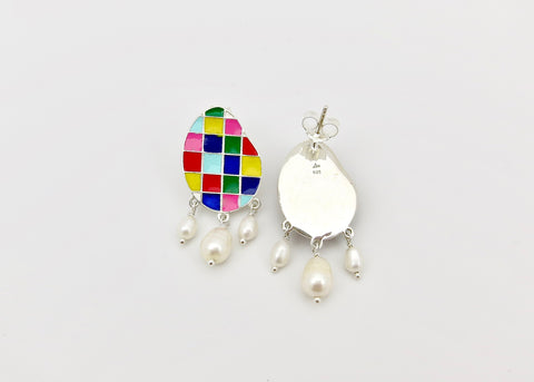 Stunning, colour grid, pearl drop 'varnin' earrings  [PBZ-1429-ER]  Earrings Sterling silver handcrafted jewellery. 925 pure silver jewellery. Earrings, nose pins, rings, necklaces, cufflinks, pendants, jhumkas, gold plated, bidri, gemstone jewellery. Handmade in India, fair trade, artisan jewellery.