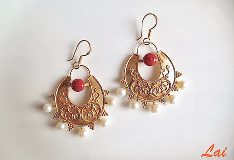 Stunning, Greek inspired, coral and pearl gold plated earrings  Earrings Sterling silver handcrafted jewellery. 925 pure silver jewellery. Earrings, nose pins, rings, necklaces, cufflinks, pendants, jhumkas, gold plated, bidri, gemstone jewellery. Handmade in India, fair trade, artisan jewellery.