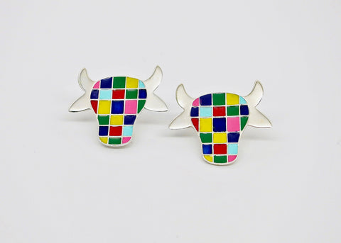 Whimsical and uber cool 'dhenu' (cow) ear studs [PBZ-1431-ER]