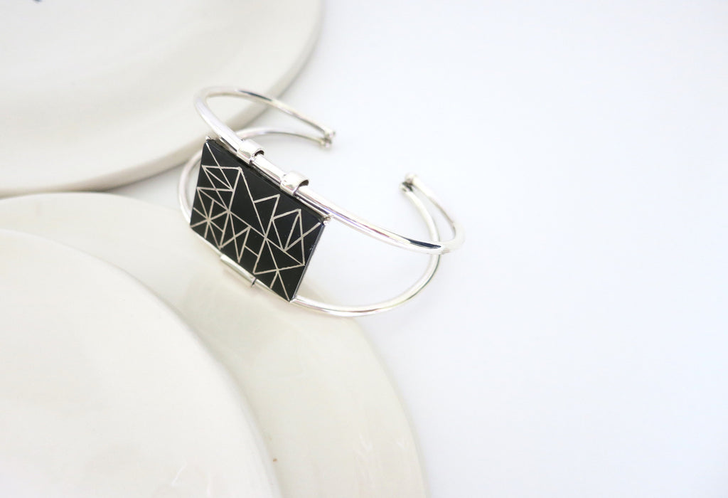 Can't-take-your-eyes-off-it rectangular Bidri cuff (PB-1301-B)  Bangles Lai designer sterling silver 925 jewelry that is global culture inspired artisanal handcrafted handmade contemporary sustainable conscious fair trade online brand shop