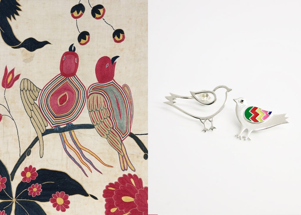 Whimsical, asymmetrical 'paksi' (bird) earrings [PBZ-1432-ER]