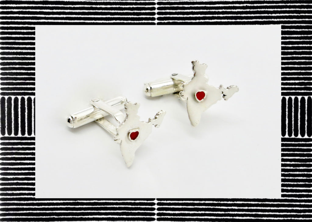 Quaint 'Bharat' (India) cufflinks [PBZ-1006-CL]  Cuff links Sterling silver handcrafted jewellery. 925 pure silver jewellery. Earrings, nose pins, rings, necklaces, cufflinks, pendants, jhumkas, gold plated, bidri, gemstone jewellery. Handmade in India, fair trade, artisan jewellery.