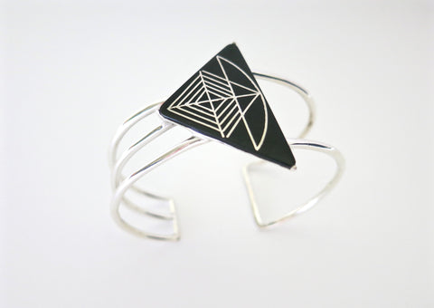 Dramatic triangular Bidri cuff (PB-1302-B)  Bangles Sterling silver handcrafted jewellery. 925 pure silver jewellery. Earrings, nose pins, rings, necklaces, cufflinks, pendants, jhumkas, gold plated, bidri, gemstone jewellery. Handmade in India, fair trade, artisan jewellery.