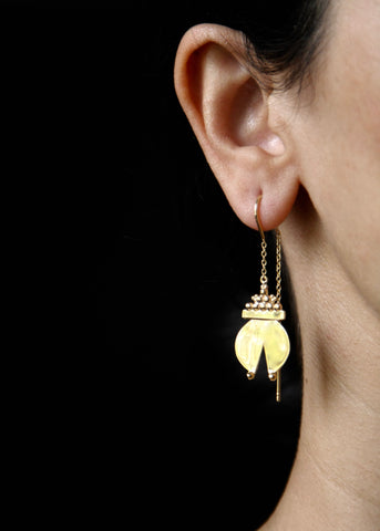 Contemporary, gold plated 'Naughara' threader earrings [PB-11082-ER (G)]  Earrings Sterling silver handcrafted jewellery. 925 pure silver jewellery. Earrings, nose pins, rings, necklaces, cufflinks, pendants, jhumkas, gold plated, bidri, gemstone jewellery. Handmade in India, fair trade, artisan jewellery.