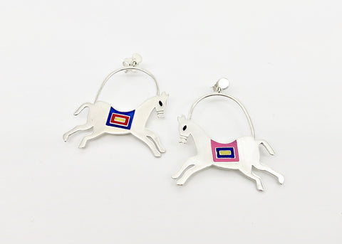 'The Ashwins'; whimsical prancing horse earrings