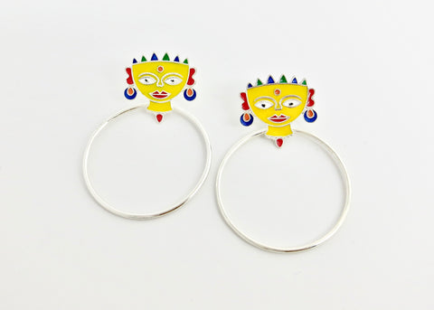 Conversation starting 'Devi' (goddess) earrings [PBZ-1441-ER]