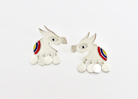 Stunning, folksy 'Ashva' (horse) earrings [PBZ-1439-ER]