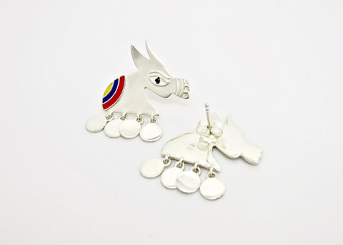 Stunning, folksy 'Ashva' (horse) earrings [PBZ-1439-ER]  Earrings Sterling silver handcrafted jewellery. 925 pure silver jewellery. Earrings, nose pins, rings, necklaces, cufflinks, pendants, jhumkas, gold plated, bidri, gemstone jewellery. Handmade in India, fair trade, artisan jewellery.