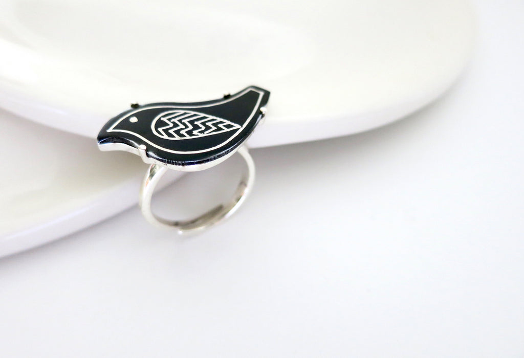 Chic and fun Bidri bird ring (PB-1419-R)  Ring Lai designer sterling silver 925 jewelry that is global culture inspired artisanal handcrafted handmade contemporary sustainable conscious fair trade online brand shop