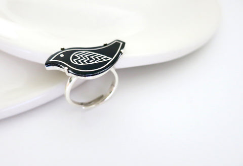 Chic and fun Bidri bird ring  Ring Sterling silver handcrafted jewellery. 925 pure silver jewellery. Earrings, nose pins, rings, necklaces, cufflinks, pendants, jhumkas, gold plated, bidri, gemstone jewellery. Handmade in India, fair trade, artisan jewellery.