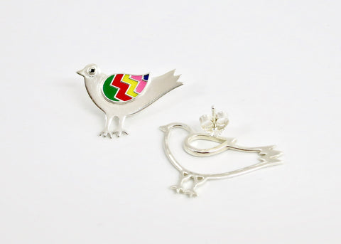 Whimsical, asymmetrical 'paksi' (bird) earrings [PBZ-1432-ER]  Earrings Sterling silver handcrafted jewellery. 925 pure silver jewellery. Earrings, nose pins, rings, necklaces, cufflinks, pendants, jhumkas, gold plated, bidri, gemstone jewellery. Handmade in India, fair trade, artisan jewellery.