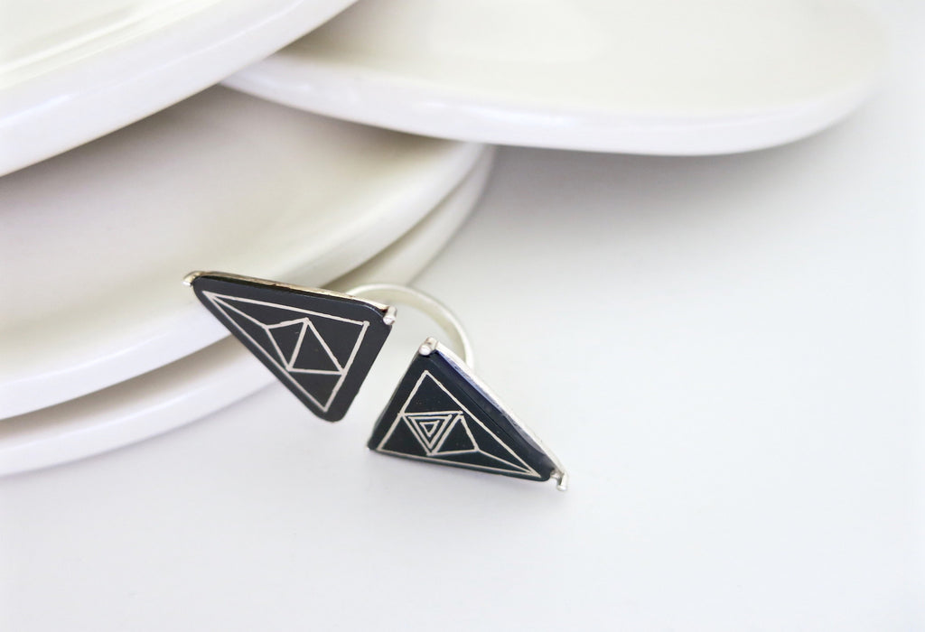 Twin triangle statement open Bidri ring (PB-1426-R)  Ring Sterling silver handcrafted jewellery. 925 pure silver jewellery. Earrings, nose pins, rings, necklaces, cufflinks, pendants, jhumkas, gold plated, bidri, gemstone jewellery. Handmade in India, fair trade, artisan jewellery.