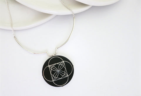 Modernist round Bidri pendant necklace