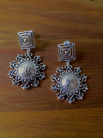 Gorgeous, Kutch-inspired, square top, dangling sunburst earrings  Earrings Sterling silver handcrafted jewellery. 925 pure silver jewellery. Earrings, nose pins, rings, necklaces, cufflinks, pendants, jhumkas, gold plated, bidri, gemstone jewellery. Handmade in India, fair trade, artisan jewellery.