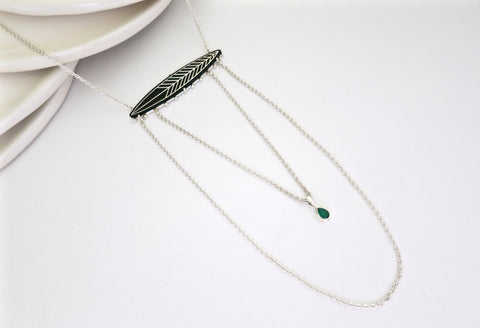Unique, elegant layered Bidri chain necklace