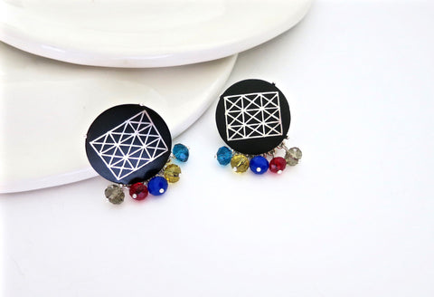 Chic, colourful round Bidri earrings