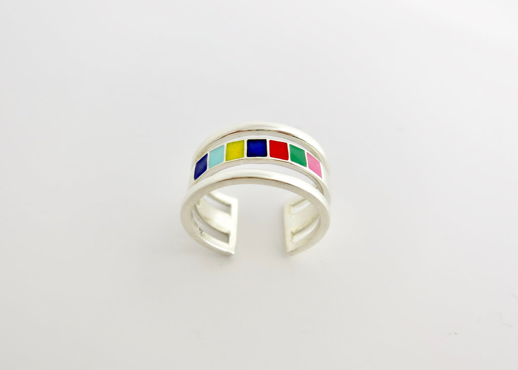 Won't-take-it-off, 'indradhanush' (rainbow) band ring [PBZ-1349-R]  Ring Sterling silver handcrafted jewellery. 925 pure silver jewellery. Earrings, nose pins, rings, necklaces, cufflinks, pendants, jhumkas, gold plated, bidri, gemstone jewellery. Handmade in India, fair trade, artisan jewellery.