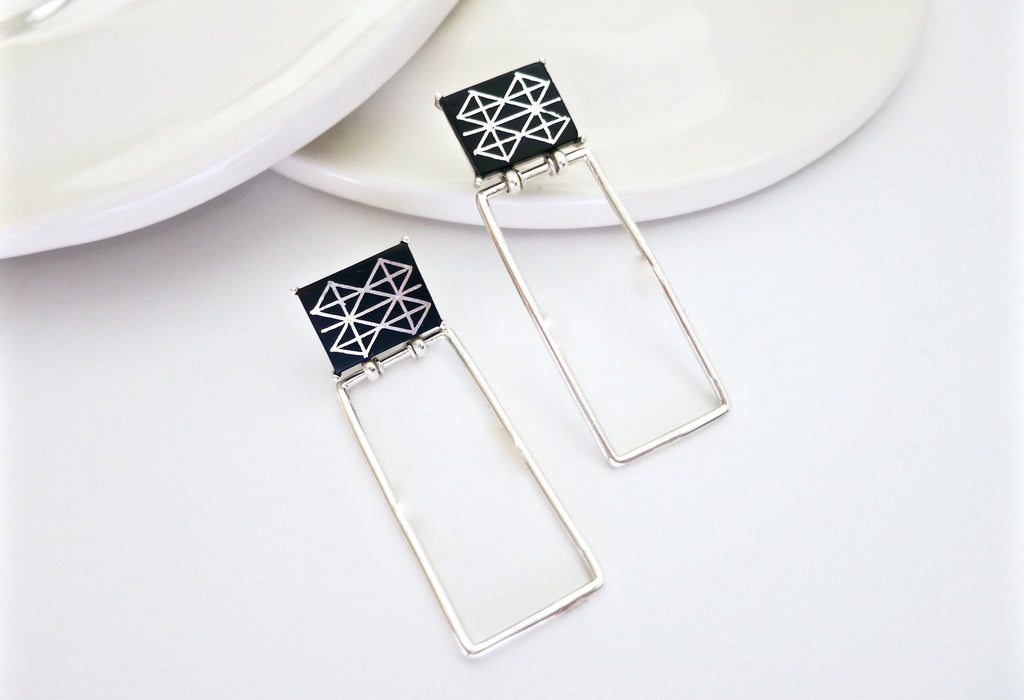 Minimalist long rectangular Bidri earrings (PB-1377-ER)  Earrings Lai designer sterling silver 925 jewelry that is global culture inspired artisanal handcrafted handmade contemporary sustainable conscious fair trade online brand shop