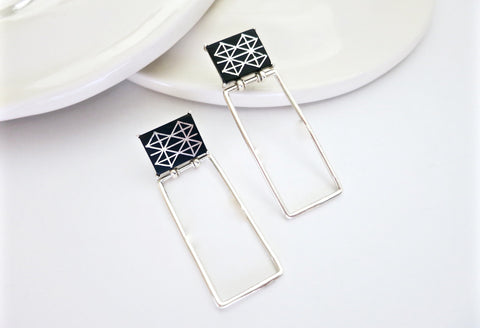 Minimalist, long rectangular Bidri earrings