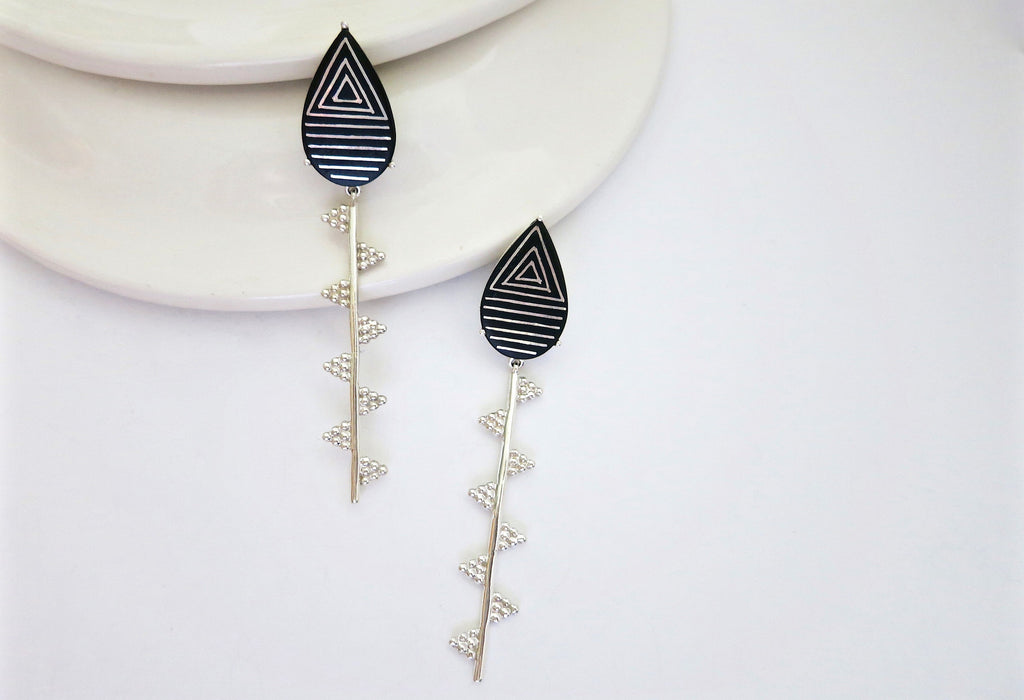 Exquisite, sleek, long Bidri earrings (PB-1379-ER)  Earrings Lai designer sterling silver 925 jewelry that is global culture inspired artisanal handcrafted handmade contemporary sustainable conscious fair trade online brand shop
