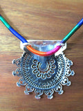 Exquisite Kutch inspired round sunburst jali pendant with hammer finish (PB-7108-P) -  - 3