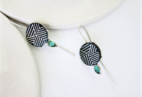 Chic, elegant long hook Bidri earrings