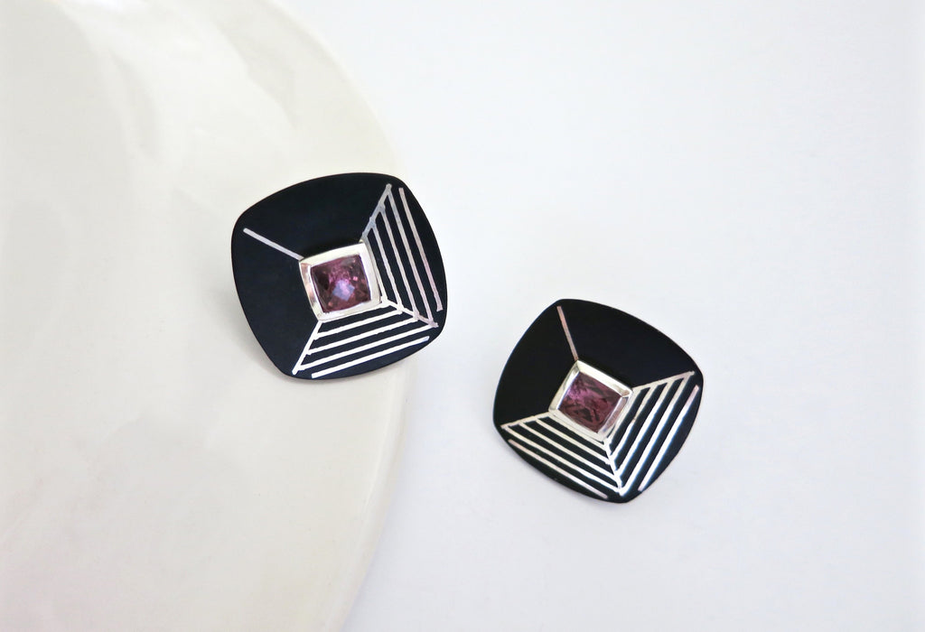 Wear-them-with-everything, modular Bidri earrings (PB-1396-ER) - Lai - 1