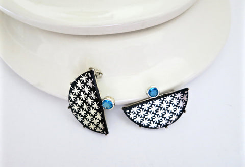Luxurious half round Bidri earrings