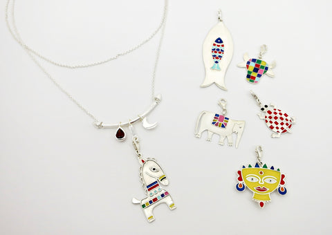 'Indian folk art' charm necklace
