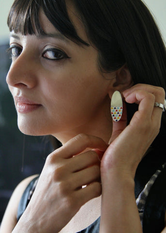 Exquisite, long oval 'lambotra' earrings [PBZ-1438-ER]  Earrings Sterling silver handcrafted jewellery. 925 pure silver jewellery. Earrings, nose pins, rings, necklaces, cufflinks, pendants, jhumkas, gold plated, bidri, gemstone jewellery. Handmade in India, fair trade, artisan jewellery.