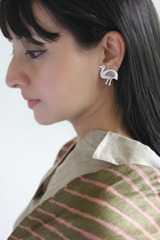 Gorgeous, chic, asymmetrical 'teetar' (bird) earrings [PBZ-1451-ER]  Earrings Sterling silver handcrafted jewellery. 925 pure silver jewellery. Earrings, nose pins, rings, necklaces, cufflinks, pendants, jhumkas, gold plated, bidri, gemstone jewellery. Handmade in India, fair trade, artisan jewellery.
