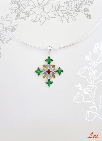 Chic fun rangoli inspired cross shape enamel pendant (PB-4040-P)  Necklace, Pendant Sterling silver handcrafted jewellery. 925 pure silver jewellery. Earrings, nose pins, rings, necklaces, cufflinks, pendants, jhumkas, gold plated, bidri, gemstone jewellery. Handmade in India, fair trade, artisan jewellery.