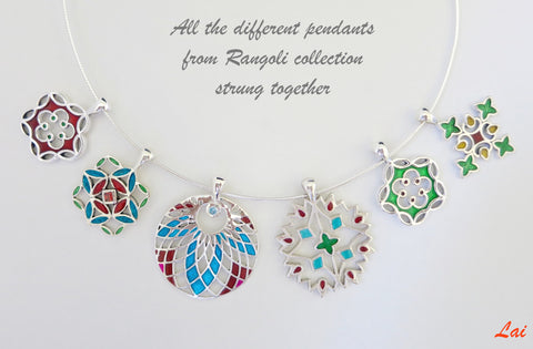 Elegant minimalist rangoli inspired enamel pendant (PB-4039-P)  Necklace, Pendant Sterling silver handcrafted jewellery. 925 pure silver jewellery. Earrings, nose pins, rings, necklaces, cufflinks, pendants, jhumkas, gold plated, bidri, gemstone jewellery. Handmade in India, fair trade, artisan jewellery.
