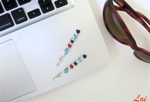 Chic lapis, turquoise & coral hair clip (PB-1005-HO)