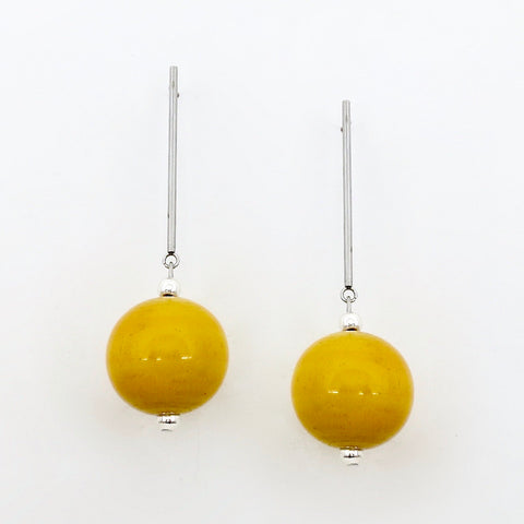 Scepter and Orb earrings (available in 6 different colours)  Earrings Sterling silver handcrafted jewellery. 925 pure silver jewellery. Earrings, nose pins, rings, necklaces, cufflinks, pendants, jhumkas, gold plated, bidri, gemstone jewellery. Handmade in India, fair trade, artisan jewellery.